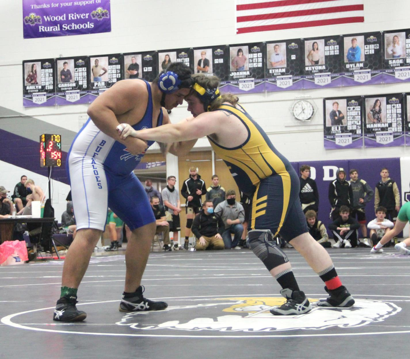 Gibbon's 285 pound wrestler Daniel Yepez (left) placed third in his weight class at last week's Franklin Invitational. The Buffaloes are set to host the Bill Foster-Gibbon Invitational this Saturday beginning at 10:00 a.m. (–photo by Amber Price)
