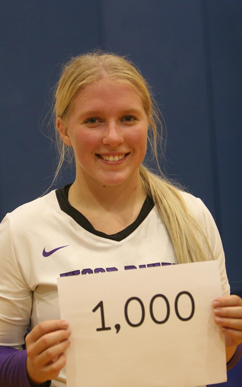 A very significant volleyball milestone was reached by Baylie Codner last week. The senior recorded dig number 1,000, a plateau reached only by a select few of former Eagles, etching her name among the elite. (—photo by Lynn McBride)