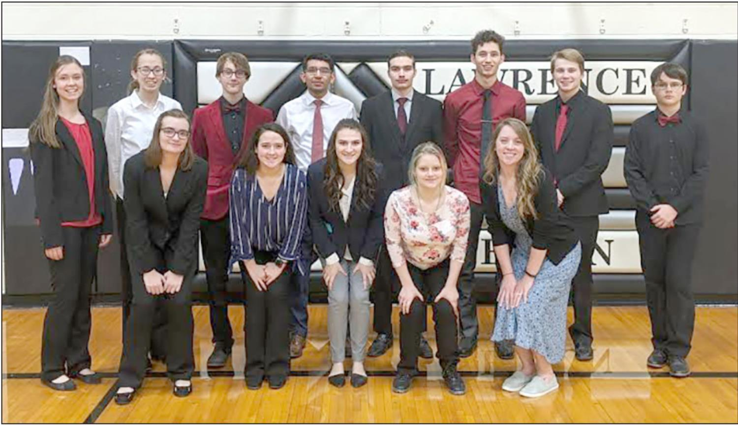 Shelton speech team members making the trip to Lawrence-Nelson for the Twin Valley Conference meet included, front row, left to right, Samantha Snyder, Breanna Plihal, Kirsten Johnson, Rose Fox, and Coach Leah Solko; and back row, Jaylea Pope, Kiersten Be