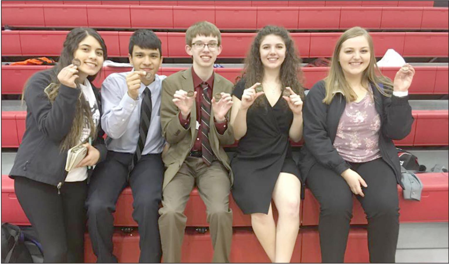 Gibbon speech team members who earned medals at the conference meet were, left to right, Xipatly Irlas, Martin Montanez, Chris Mercer, Delaney Tracy, and Zoe Anderson. (–courtesy photo)