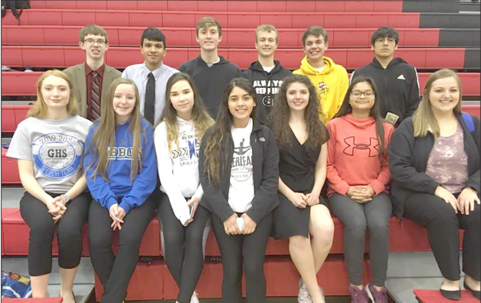 Members of the Gibbon speech team who competed at the LouPlatte Conference meet were, front row, left to right, Taylor Schubauer, Lindsay Wilkens, Miracle Kenkel, Xipatly Irlas, Delaney Tracy, Jiromi Corona, and Zoe Anderson; and back row, left to right,