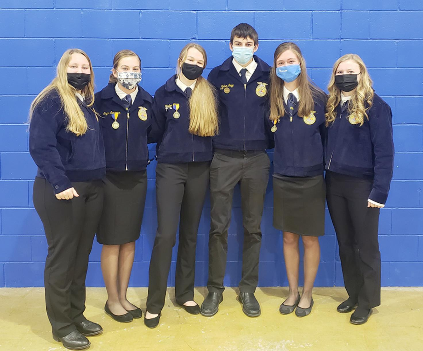 Members of Shelton FFA Senior Parli Pro Team that competed were, left to right, Jett Reilly, Skyler Summers, Taylor Lewis, Kellen Gegg, Jaylea Pope, and Brianna Simmons. (–courtesy photo)