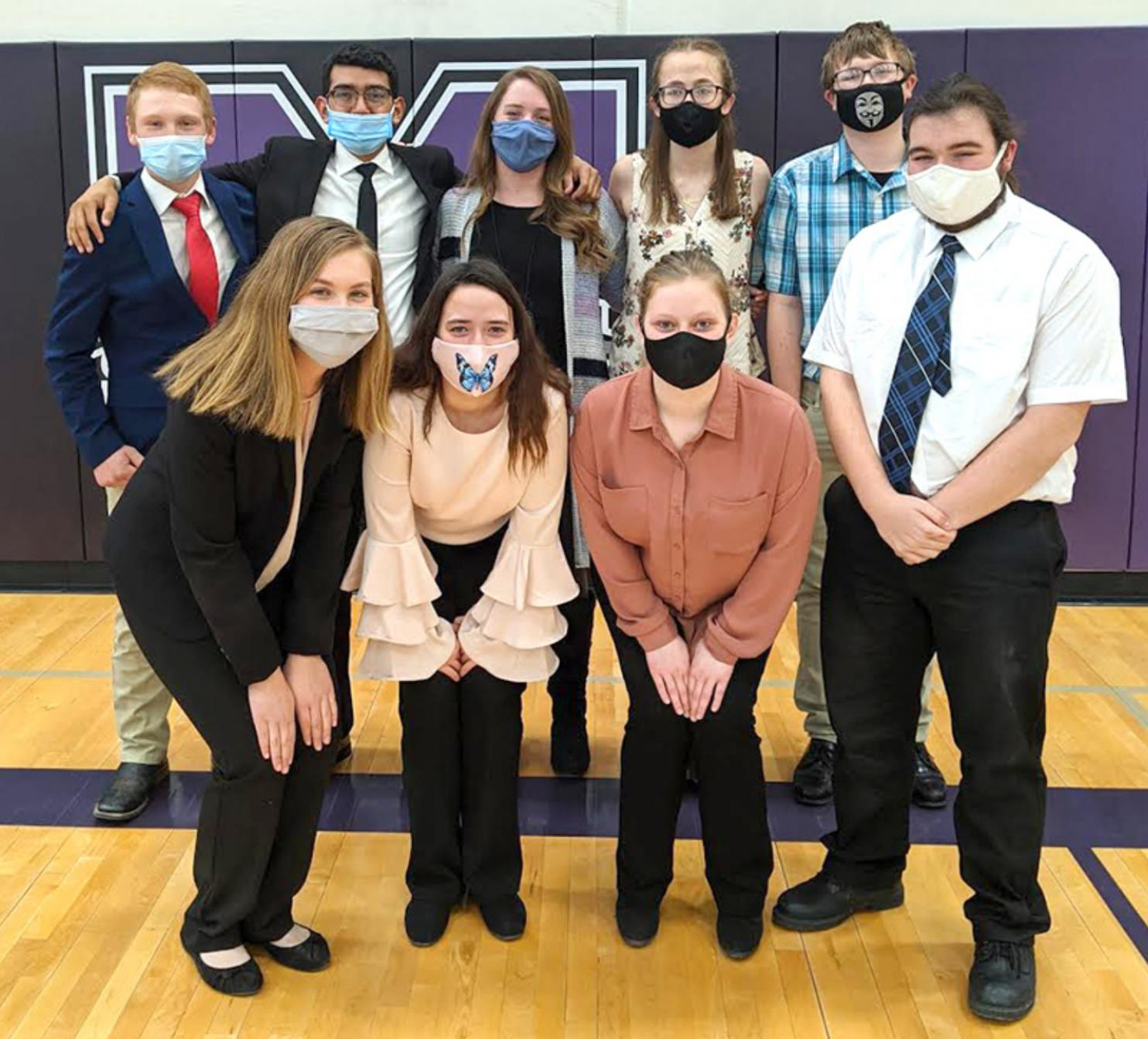 The Shelton speech team competed at the annual Minden meet last weekend. Team members included, front row, left to right, Skyler Summers, Breanna Plihal, Rose Fox, and Lane Demilt; and back row, Noah Summers, Jose Montanez, coach Leah Solko, Kiersten Benn