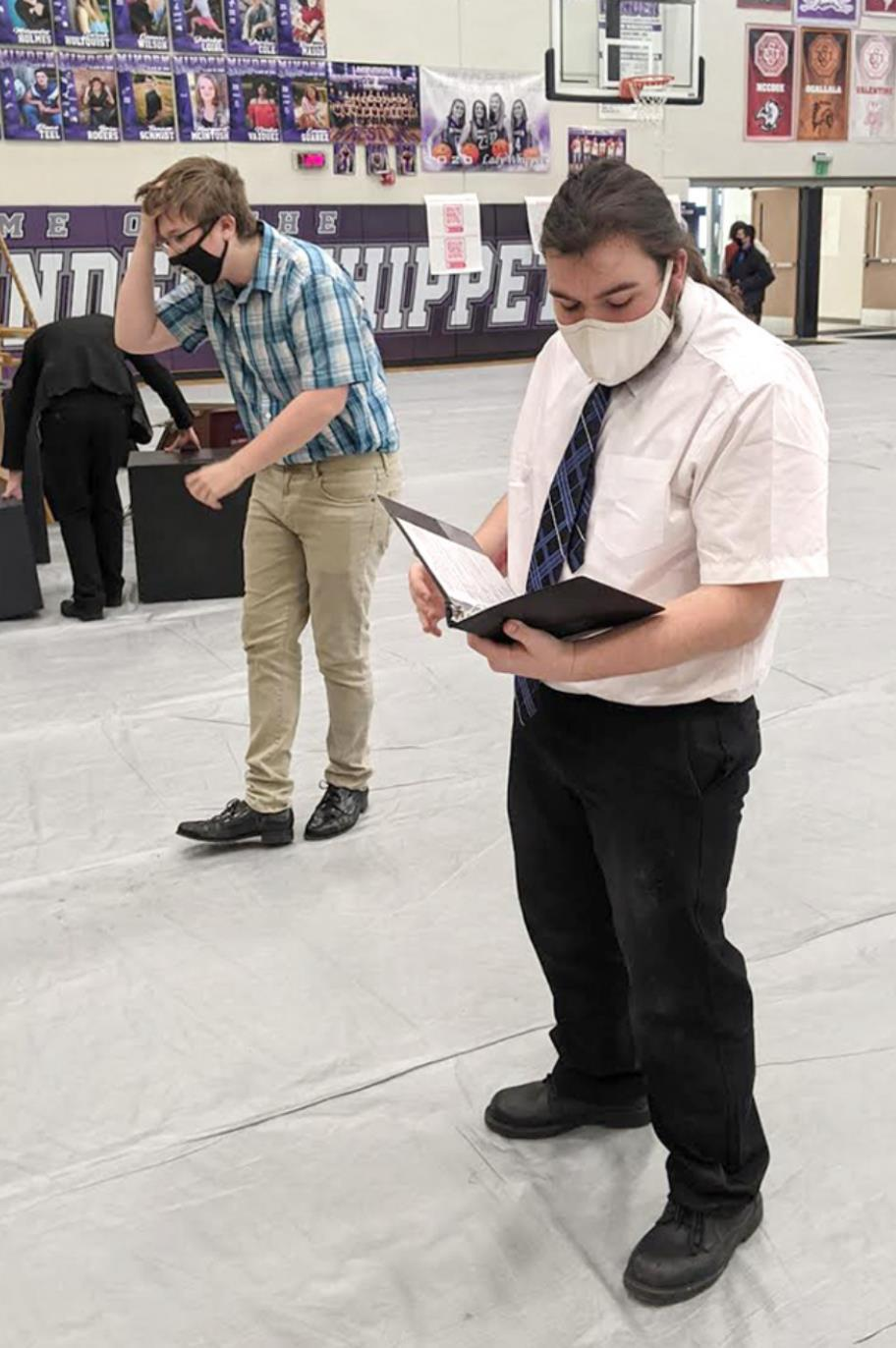 Trace Lessig (left) and Lane Demilt practice before novice humorous prose finals at the Minden speech meet last Saturday. (–courtesy photo)
