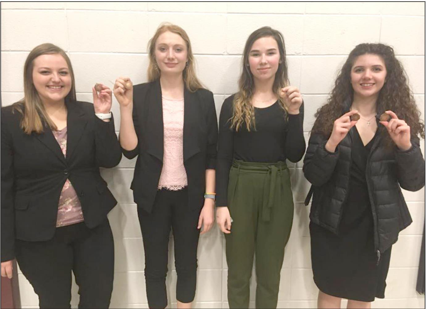 Medaling at the Centura speech meet last week were, left to right, Zoe Anderson, Taylor Schubauer, Miracle Kenkel, and Delaney Tracy. (–courtesy photo)