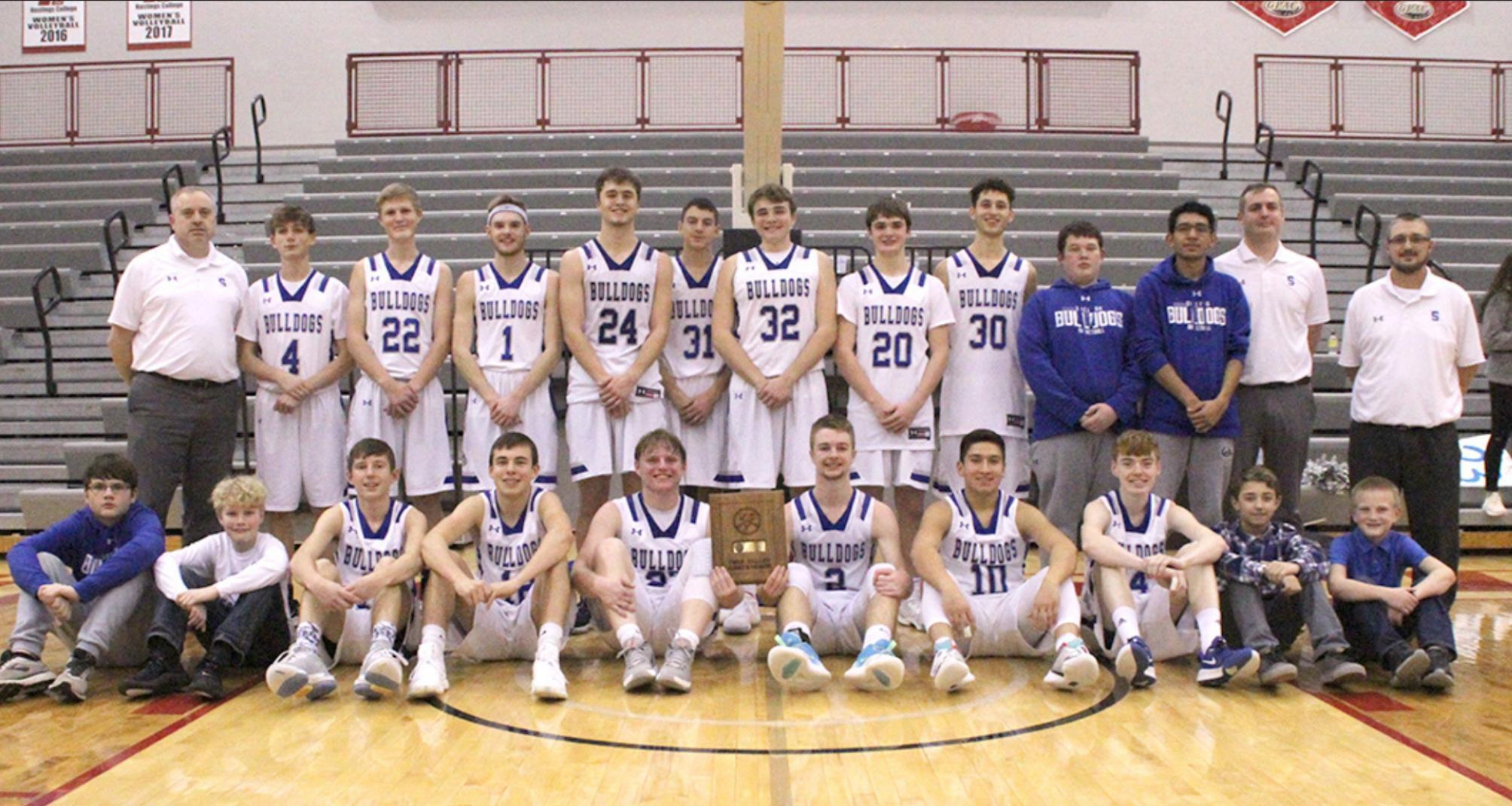 The Shelton boys basketball team claimed the championship of the 2020 Twin Valley Conference Tournament at Hastings College Saturday night. (—photo by Steve Glenn)