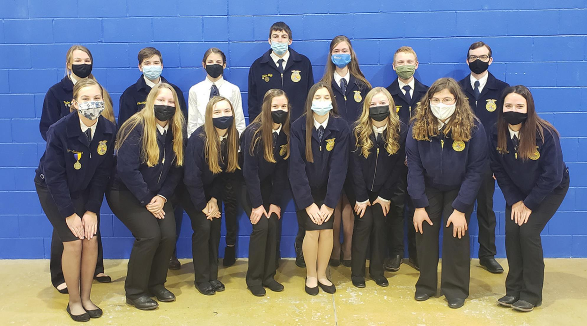 Shelton FFA members who took part in the FFA Leadership Development Events last week included, front row, left to right, Skyler Summers, Jett Reilly, Callee Carman, Justine Pope, Kaycee Tompkin, Brianna Simmons, Madison Goldfish, and Breanna Plihal; and b