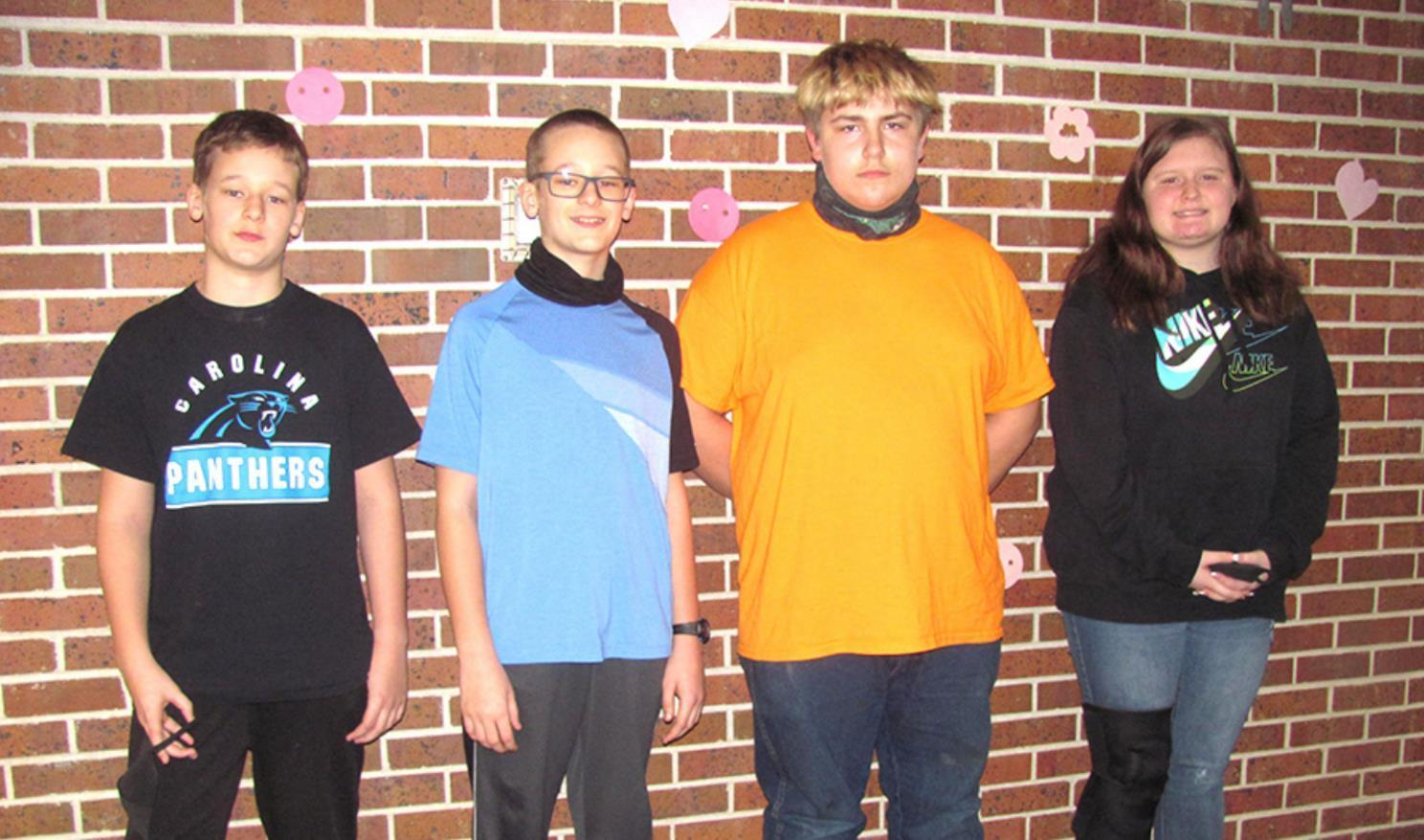 Taking part and placing in the Hall County Spelling Bee were Centura students, left to right, Caleb Hostetler, Samuel Hostetler, James Maul, and Brionna Lowe. (–courtesy photo)