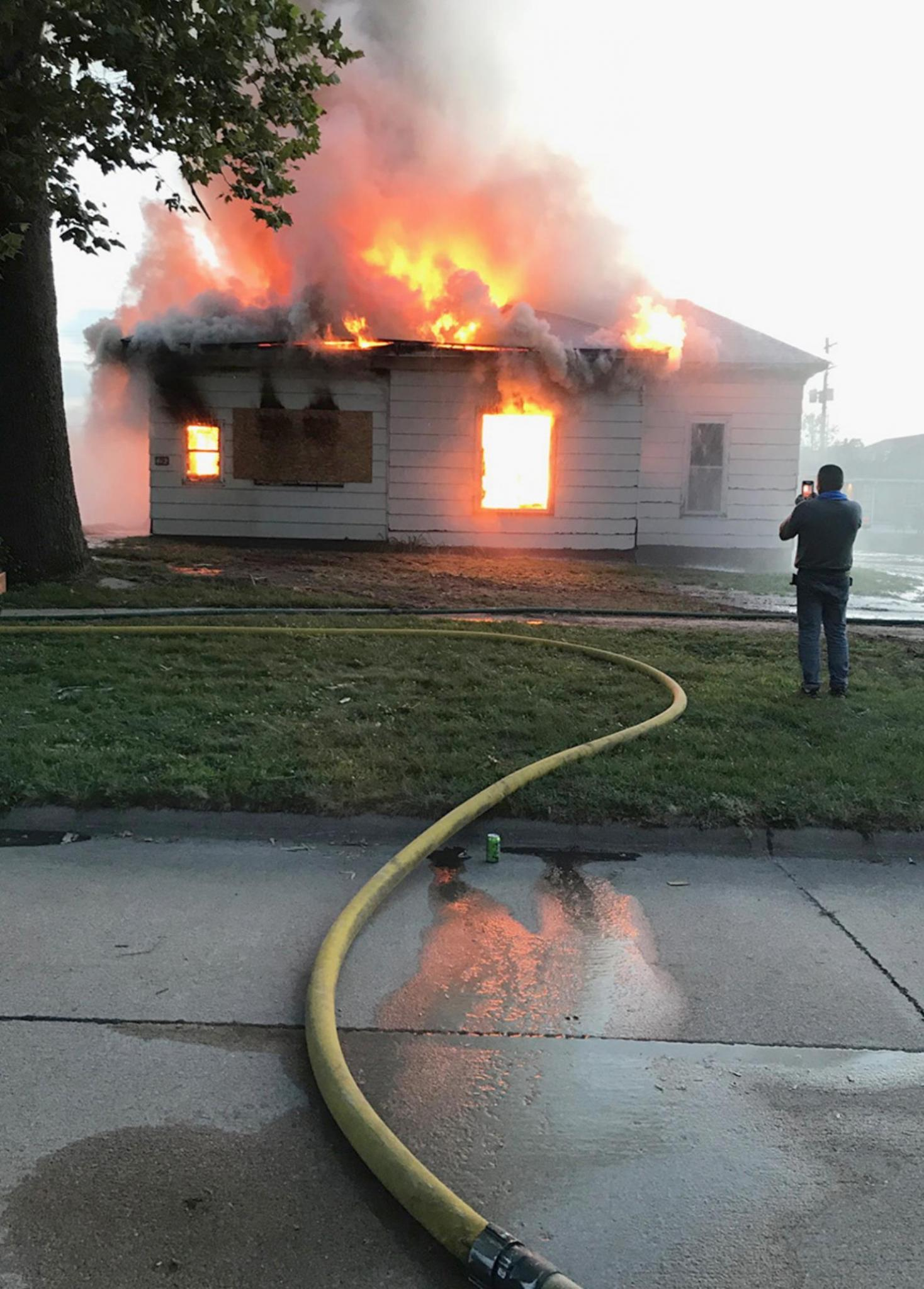 An abandoned house was the focus of a training exercise for the Cairo, Boelus, and Dannebrog Volunteer Fire Departments last week in Cairo. (–courtesy photo)