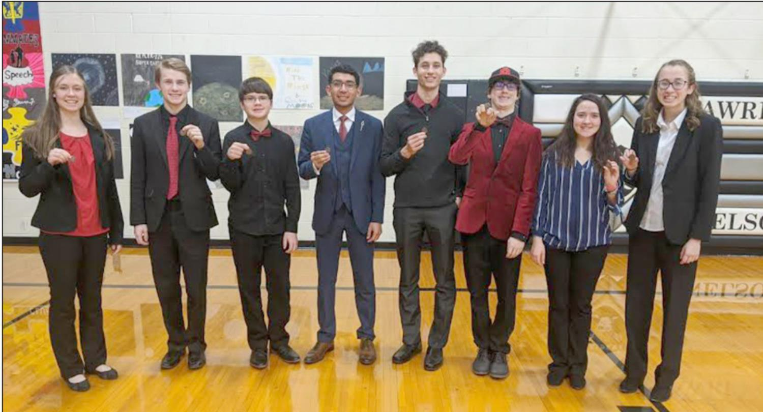 Medaling at last week's Twin Valley Conference meet were Shelton speech team members, left to right, Jaylea Pope, Logan Hellerich, Will Roe, Jose Montanez, Angel Lehn, Xavier Hellerich, Breanna Plihal, and Kiersten Bennett. Not pictured is Samantha Snyd