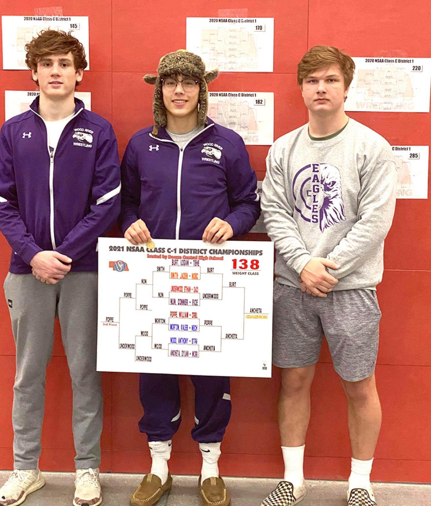 Carson Thompson, Dylan Ancheta, and Eli English will be representing the Wood River Eagles wrestling team at the state tournament in Omaha this Friday and Saturday.
