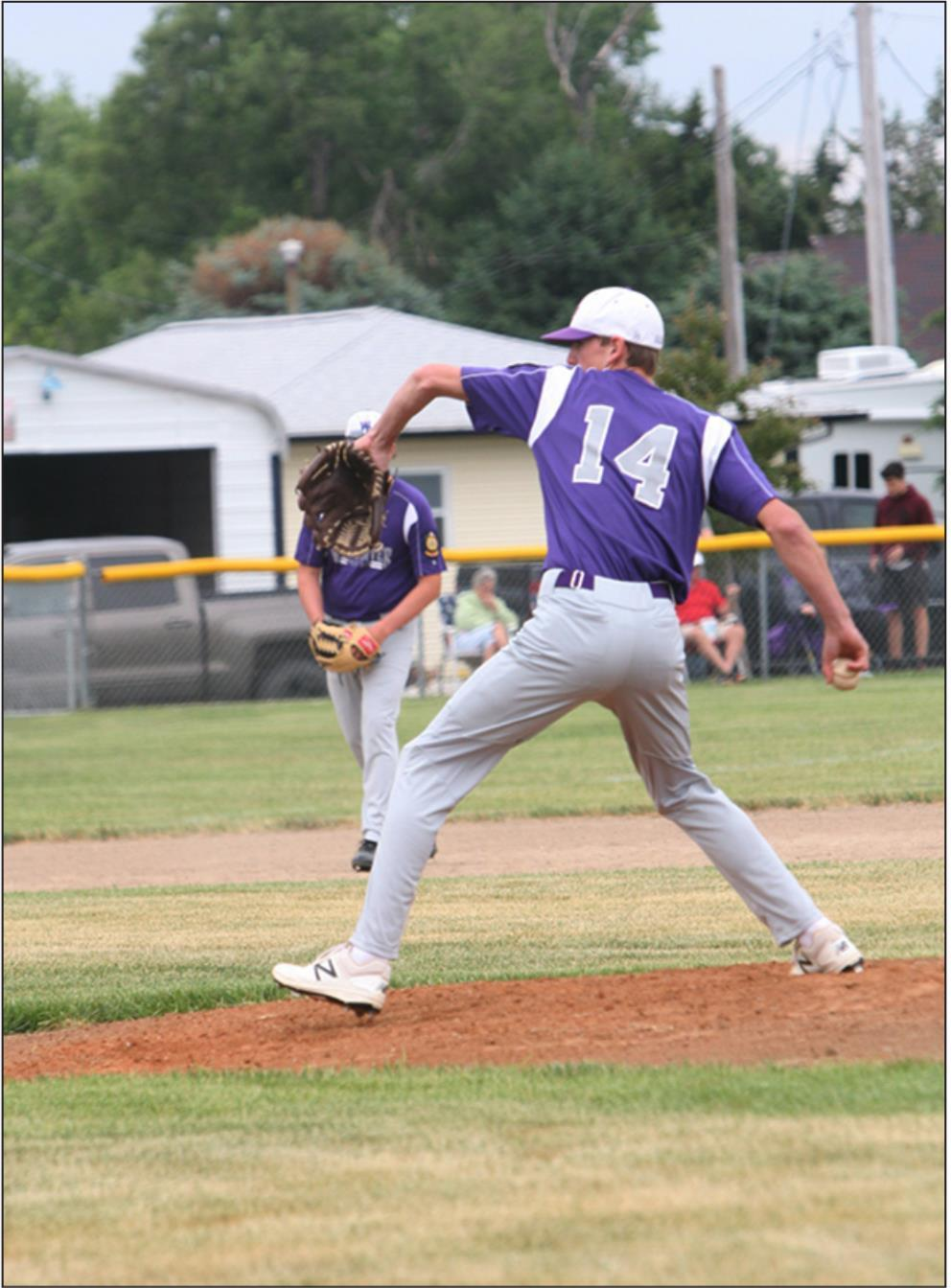 Aiden Graves drove in three runs on his three singles in the win over Minden last week and also pitched quality innings against Shelton/Gibbon. (—photo by Lynn McBride)