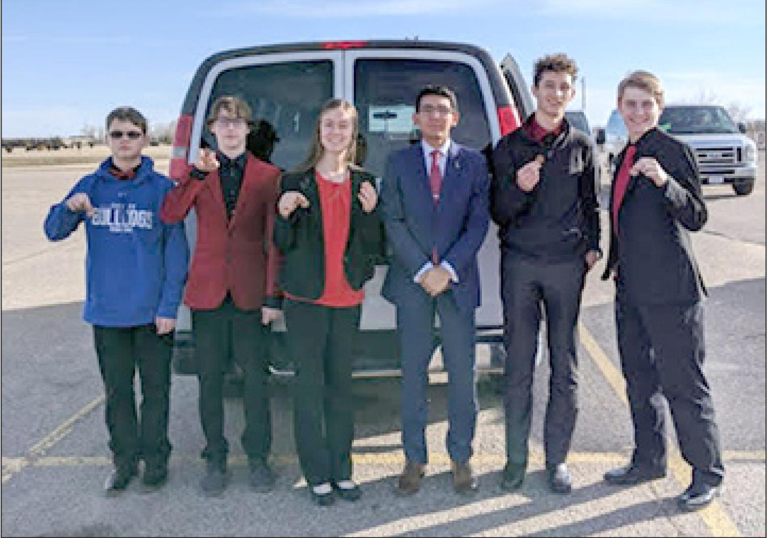Competing at the Centura speech meet for Shelton last week were, left to right, Will Roe, Xavier Hellerich, Jaylea Pope, Jose Montanez, Angel Lehn, and Logan Hellerich. (–courtesy photo)