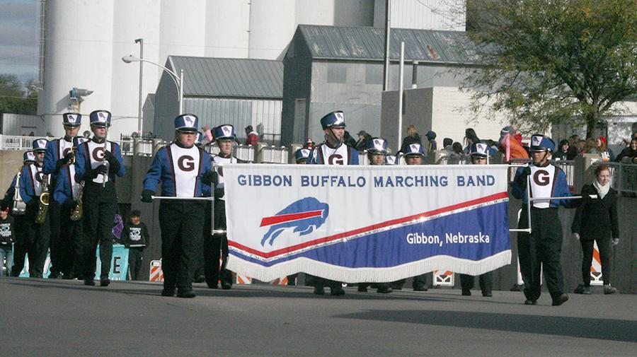 The Gibbon High Marching Band took part in the annual Grand Island Chamber of Commerce Harvest of Harmony Parade on Saturday, October 6. Those marching endured cold temperatures despite some sunshine and a gusty wind throughout the parade.