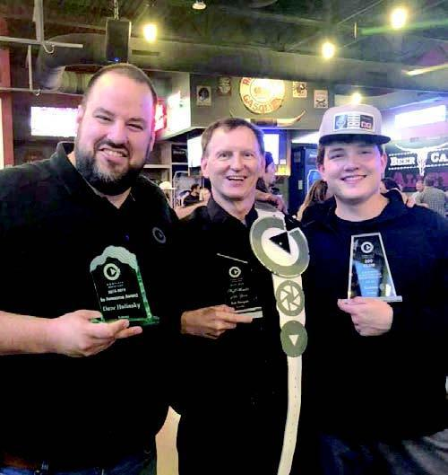 Award winners at the recent annual National Complete Summit 2019 Convention at the Hilton Hotel in Omaha were Complete Music Service owner Dave Hulinsky, DJ Bob Runyan, and DJ Dalton Okamoto. (–courtesy photo)
