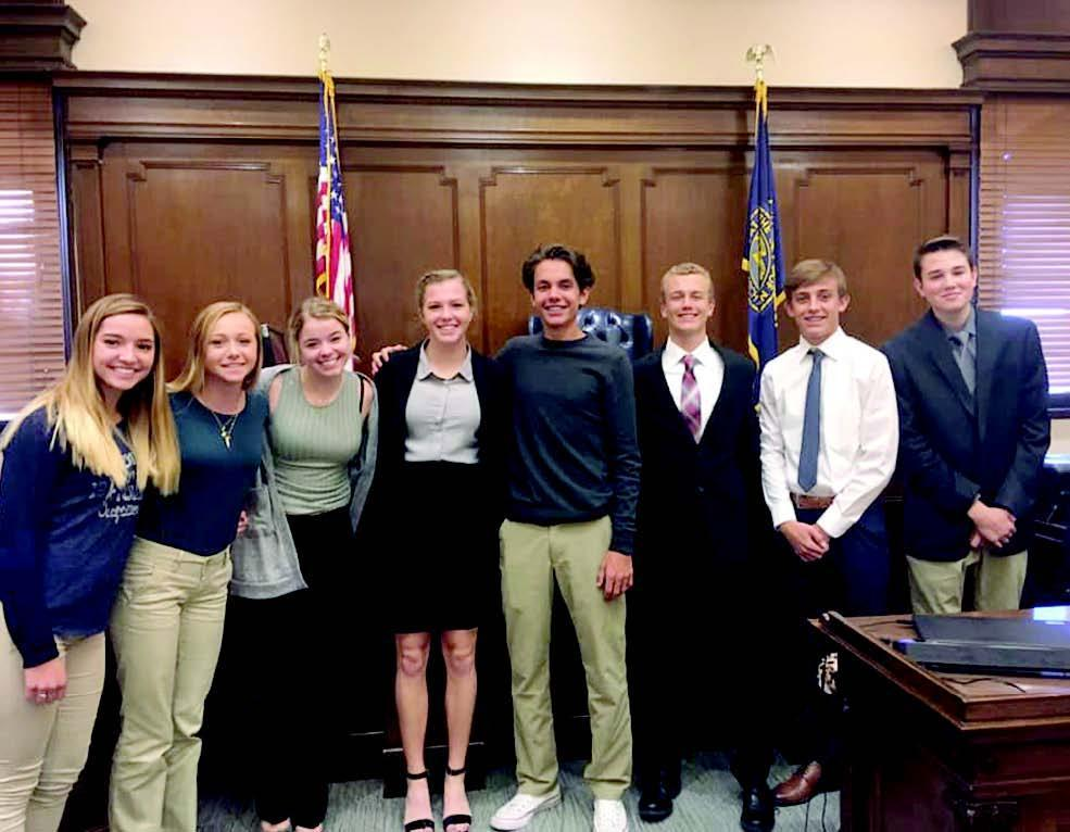 Gibbon High's first Mock Trial team recently competed against Grand Island Northwest. Team members are, left to right, Baylee Rockefeller, Jade Bentley, Aria Carson, Kaylee Palmieri, Kaleb Pickel, Matthew Weismann, Nathan Holcomb, and Elijah Carson. (–courtesy photo)