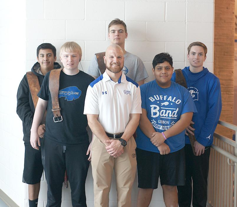 Gibbon students who attended a powerlifting competition at Creighton were, front row, left to right, James Chramosta, coach Ben Fehringer, and Javier Hernandez and back row, Rodolfo-Yepez, Austin McHale, and Daniel Chramosta. (–courtesy photo)