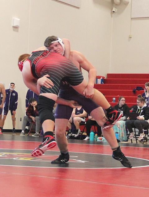 Wood River's Colin Hurley gets his opponent off the ground on his way to a takedown in wrestling action from earlier this season. Hurley placed fourth at the Central Valley Invite last Friday. (—Clipper file photo)